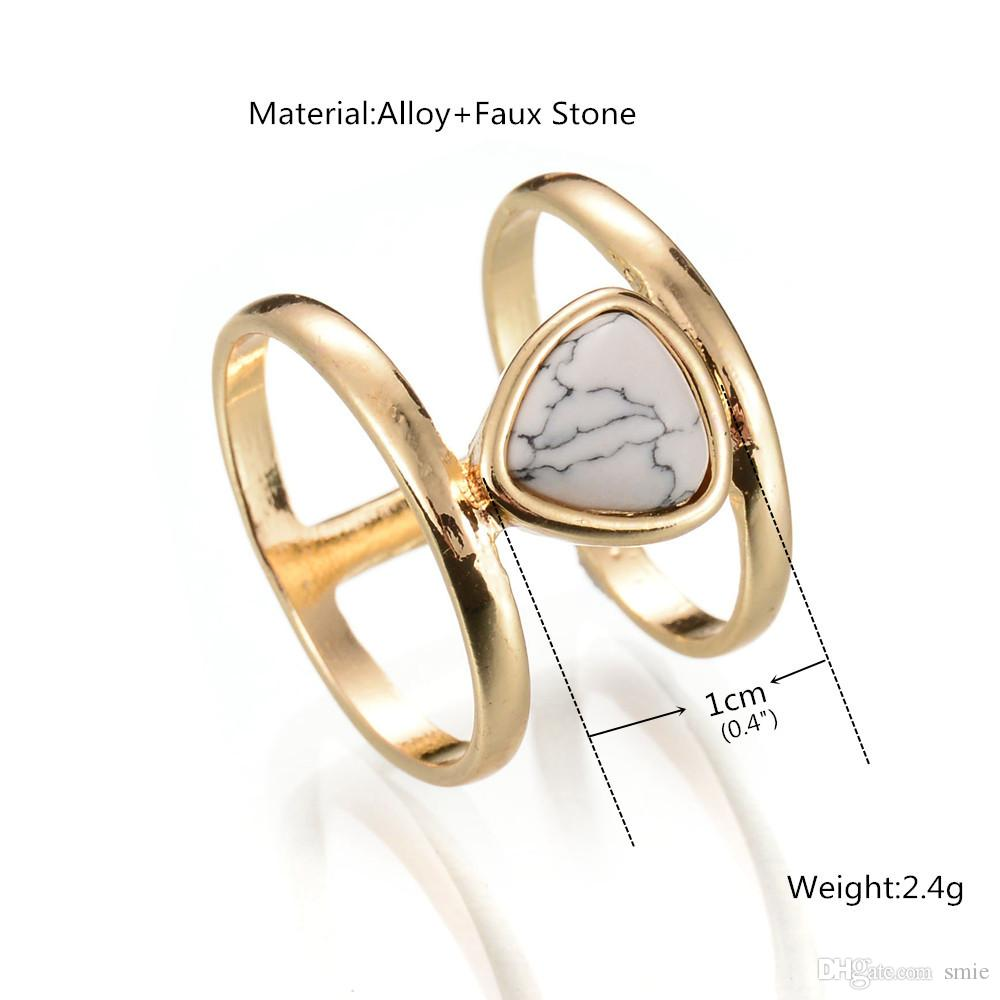 Fashion Water Drop Blue White Turquoise Ring Retro Punk Natural Stone Gold Plated Statement Rings for Women Fine Jewelry D0235