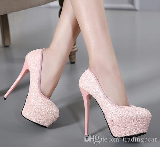 ba03946e5d 2017 Luxury glitter sequined silver wedding shoes sexy high heels platform  pumps 14cm size 34 to 39