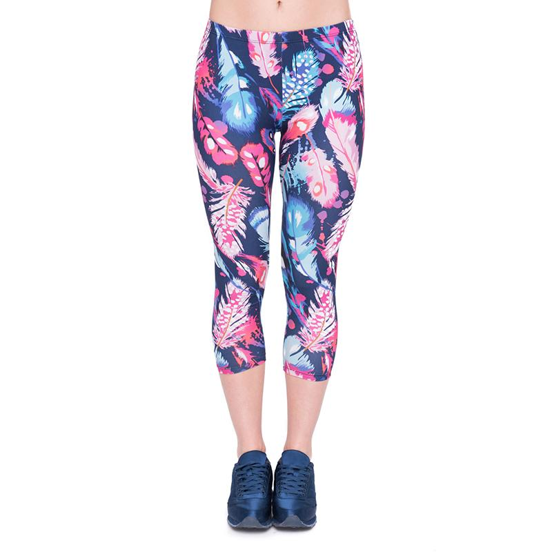 78730612332cb 2019 Girl Capri Leggings Feather Color 3D Graphic Printed Women Sport  Cropped Trousers Lady Capri Pants Elastic Waist Band Seven Socks J45782  From Joybeauty ...