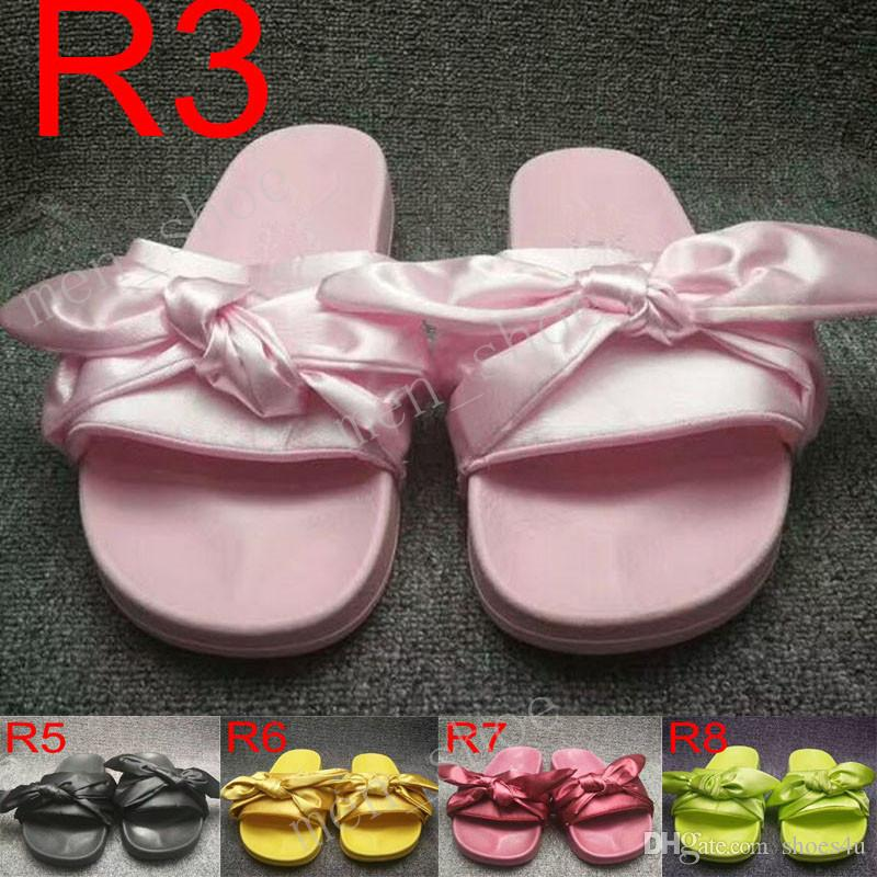 b8b9e089f85 Fashion Women Slippers Fenty Bandana Slide Leadcat Fenty Rihanna Bowtie  Slippers Bow Slides Ladies Slipper White Pink Red Gold Sale With Box Womens  Boots ...