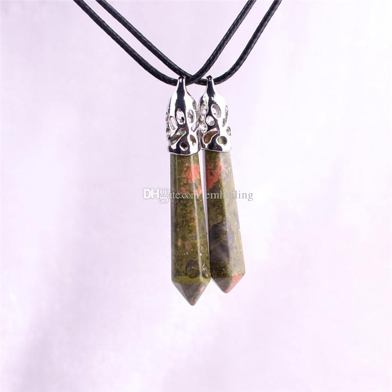 Natural Real Gem Stone Necklace Gorgeous Faceted Silver Plated Unakite Jasper Healing Crystal Pendants Necklace Chakra Jewelry Gift For Her