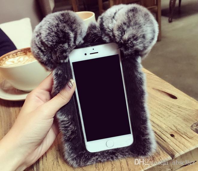 Iphone 7 6 6S Artı 5C Samsung Galaxy Note 5 4 S7 S6 Kenar S5 S4 s8 İçin Sevimli 3D PANDA Gerçek Rex Tavşan yumuşak Kürk Telefon kapak Kılıf