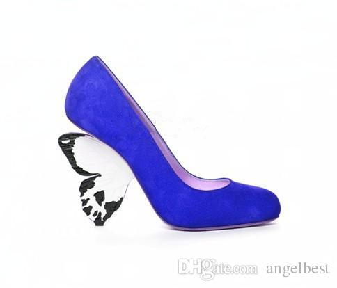 Strange Heel Fuchsia Red Royal Blue Suede Leather Women Pumps Wedding Dress Shoes Butterfly High Heels Formal Party Shoes Ladies Big Size