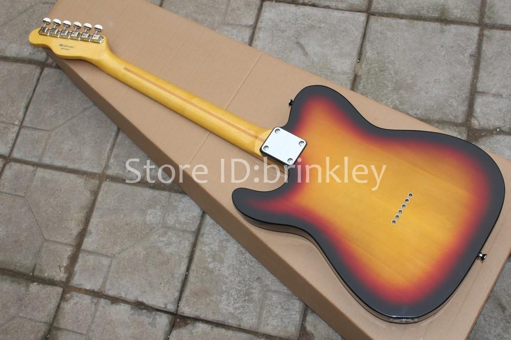 Бесплатная доставка фарфоровый завод Sunset цвет Полуполые модели электрогитары TELE один F-отверстие