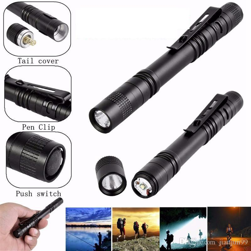 Mini Portable Pen Flashlight Pen Light LED Flash Light aaa Torch Single Mode Flashlight Torch For Outdoor Camping