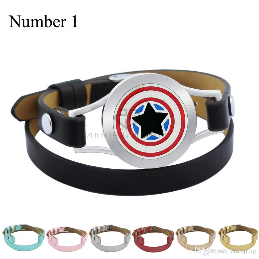 Captain America 25mm Genuine Leather Aroma Magnetic Locket Silver Stainless Steel Bangle Essential Oils Diffuser Locket Leather Bracelet