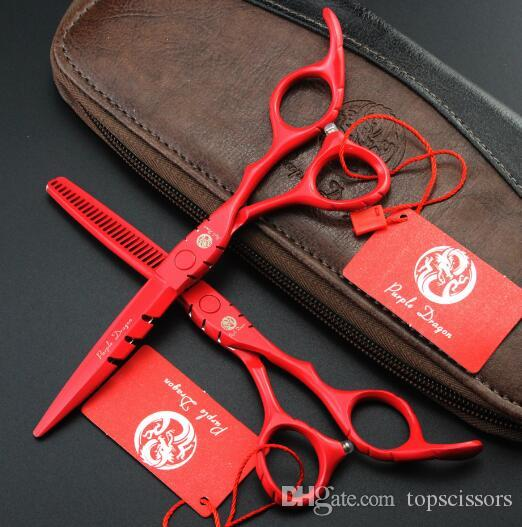 hot sale purple dragon 5.5 6 inch red paint Hairdressing scissors set Flat shear Teeth scissors thinning cutting scissors Hair Styling Tools