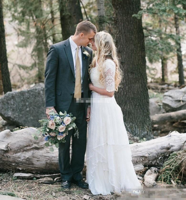 Taille modeste Western Country Robes de mariée en dentelle V moitié cou manches longues de Bohème Robes de mariée plus Robe de mariée
