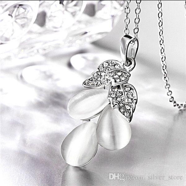 İyi A + + için üzüm beyaz kristal 18 K altın Kolye kadınlar, Yepyeni sarı altın mücevher kolye Kolye zincirleri SGN864 dahil