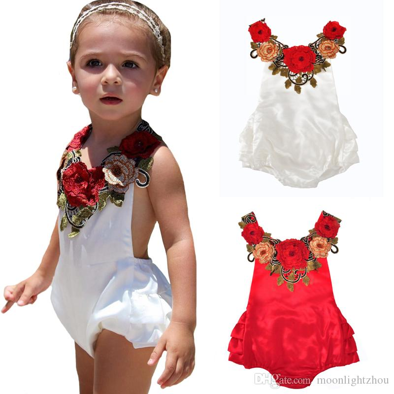 d8084781a62 2019 Floral Kids Little Girl Rompers 2017 Summer Sleeveless Baby Jumpsuit  Fashion Flower Halter Newborn Romper Kids Toddler Girls Clothes 6M 24M From  ...