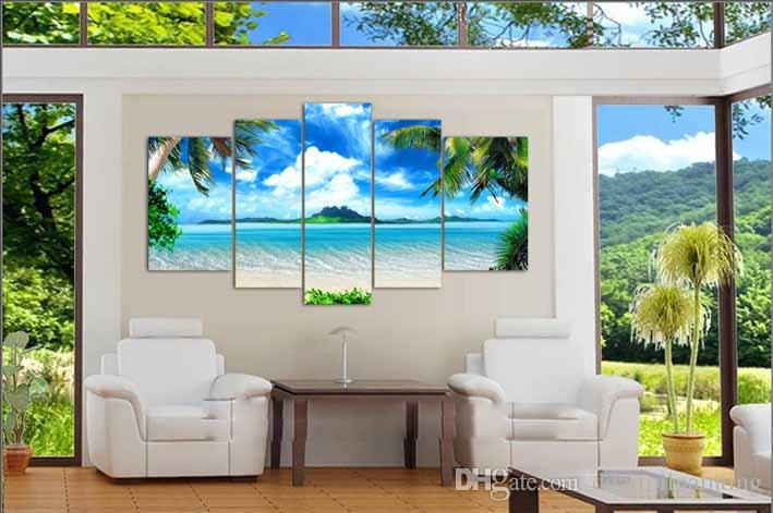 Big living room home decor Wall Art Picture printed Azure Sky Ocean White Clouds Coconut tree Painting on Canvas art no frame
