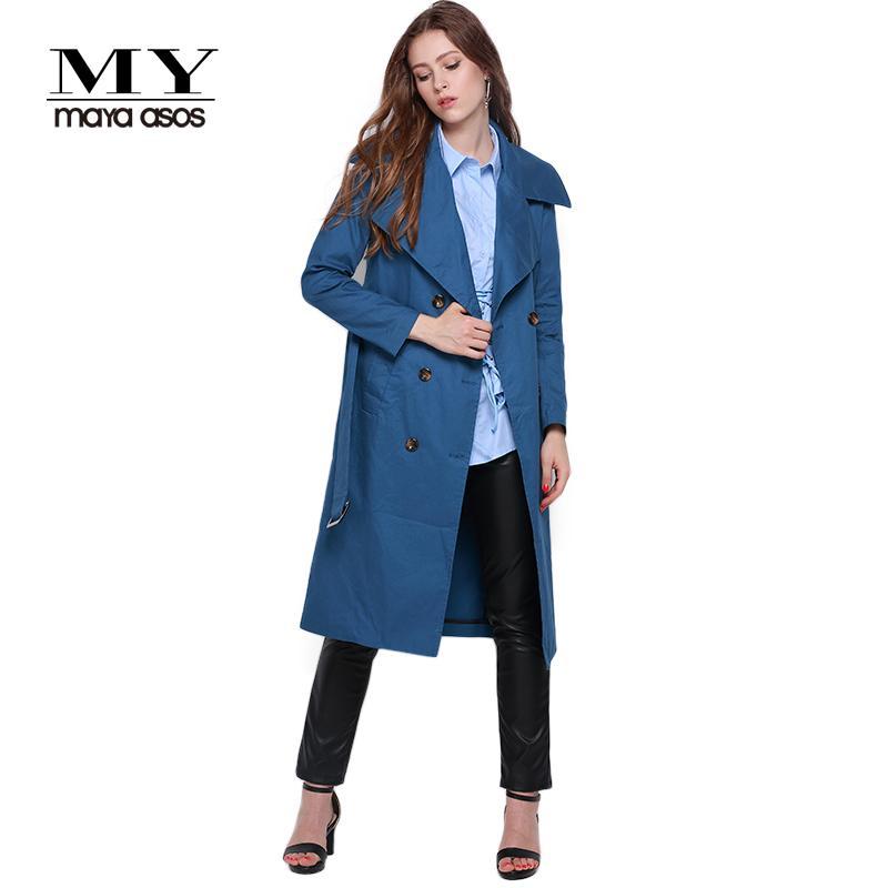 MEINE MAYAASOS 2017 Frühling Solide Blau Frauen Trenchcoat Zweireiher Lose Longline Casual Frauen Tops Outwear Sash Damen Mantel