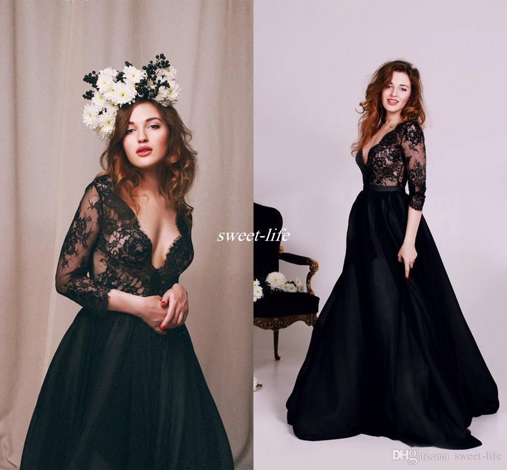 d1c6e0e86c1 Discount 2017 Lace Beach Wedding Dress With Long Sleeve Sexy Plunging Deep  V Neck Illusion Bridal Dress Unique Vintage Black Victorian Gothic Gowns  Princess ...