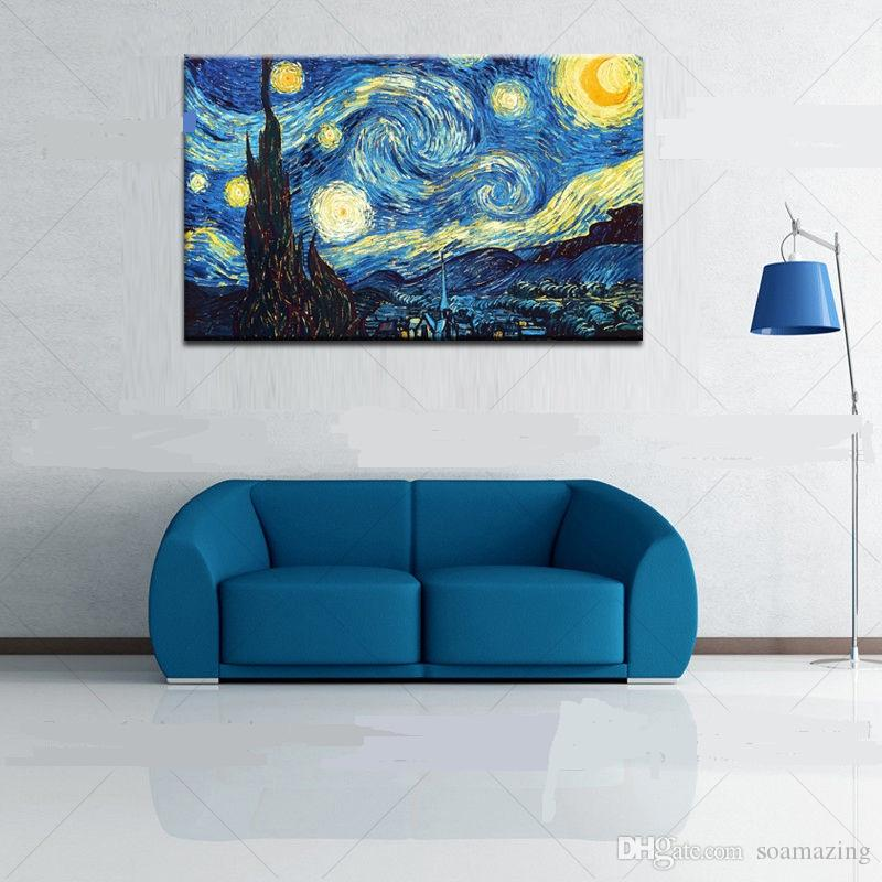 Framed Starry Night by Vincent Van Gogh,Pure Handpainted Art Oil Painting On Quality Canvas Wall Decor Multi Sizes Vg010