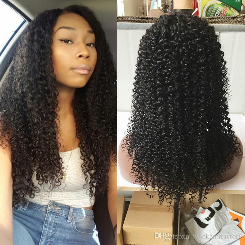 Human Hair Wigs Afro Kinky Curly Raw Natural Color Indian Hair With Baby Hair Front Lace Wigs For African Women
