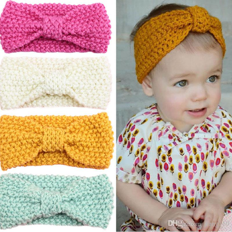 Knot Headband Bebe Girl Winter Crochet Newborn Head Wrap Warmer Knitted Bow  Hairband Hair Band Hair Bow Accessories Hair Accessories Bows Bride Hair ... 937585f7e98