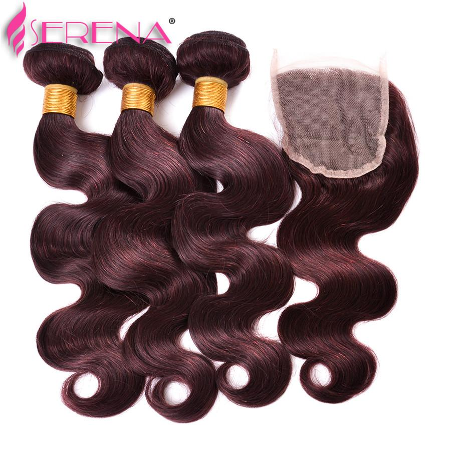 99J Brazilian Hair Weave 3 Bundles Burgundy Body Wave Grade 7A Wine Red Brazilian Virgin Remy Human Hair With Lace Closure