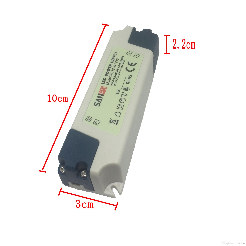 Fuente de alimentación LED SANPU 12V 15W Voltaje constante Salida única Uso interior IP44 Carcasa de plástico Tamaño pequeño PC15-W1V12