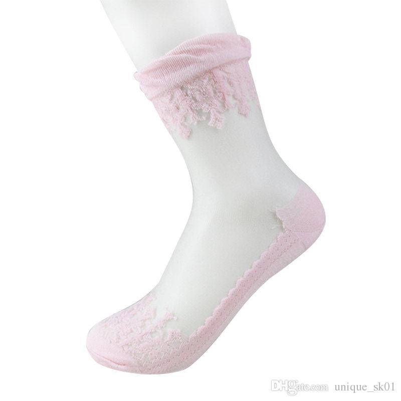 Hot Sale Crystal Silk Socks Ultrathin Transparent Sexy Sock Lace Elastic Short Socks for Women Girls beautiful female glass socks DHL