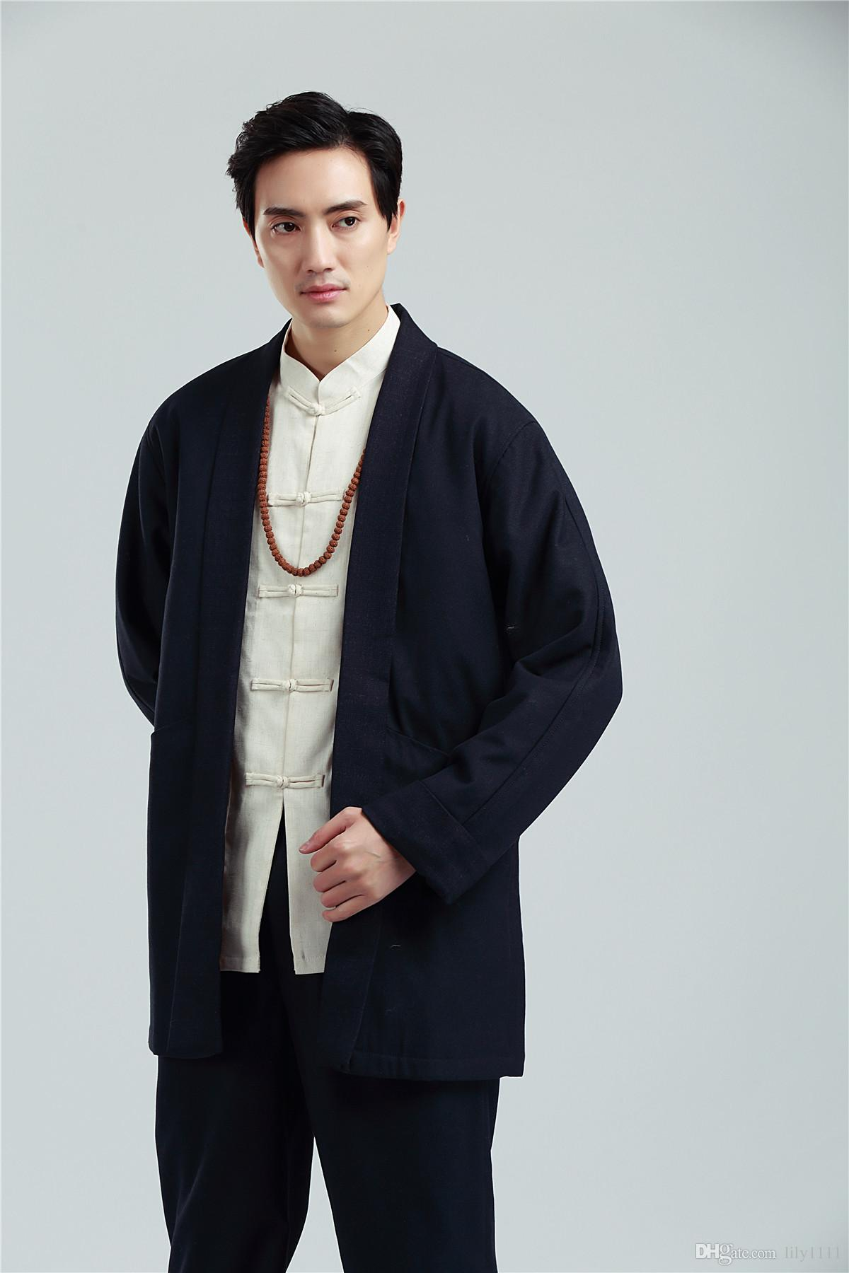Shanghai Stroy Chinese traditional Clothing Men's Kungfu Jacket Coat Tang suit Top kung fu clothes Chinese Trench Top For man