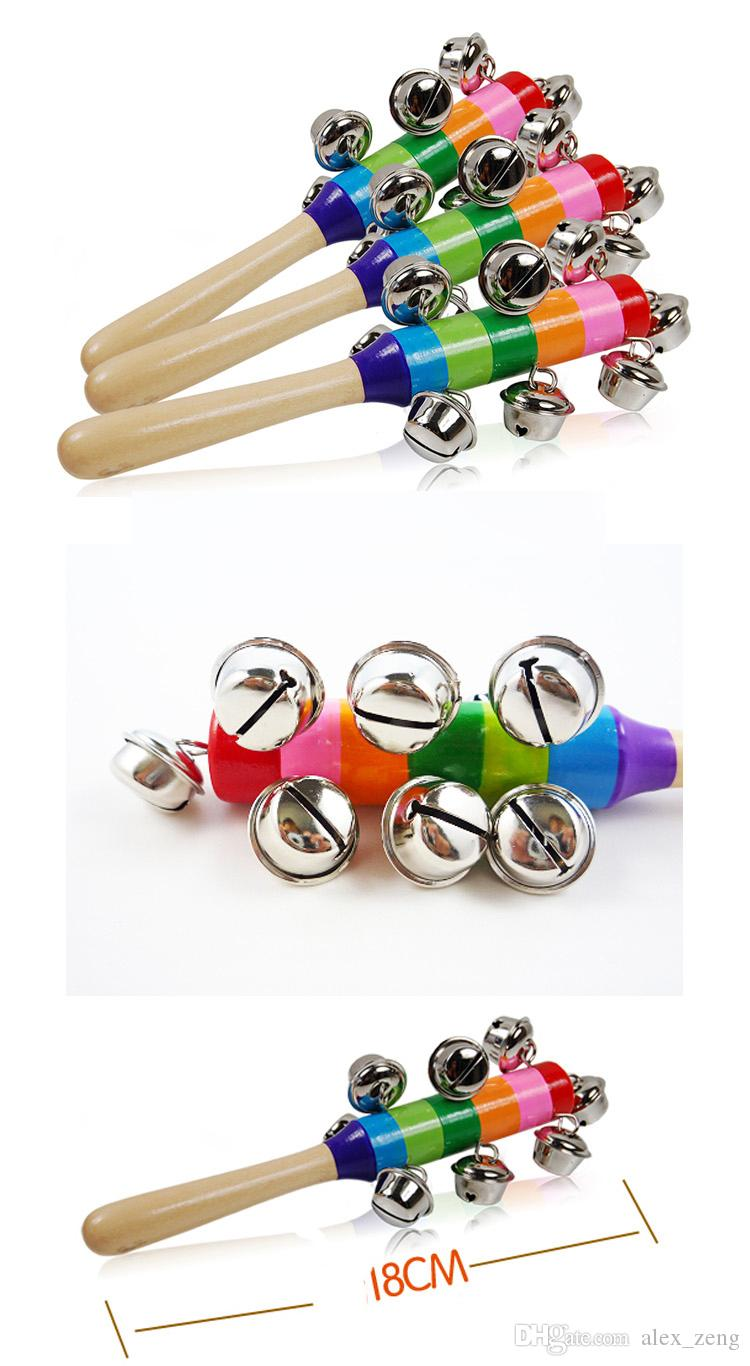 Baby Rainbow Wooden Shaker Toy Baby Rainbow Rattle Toy kid Pram Crib Handle Activity Bell Stick musical instruments Educational Toys