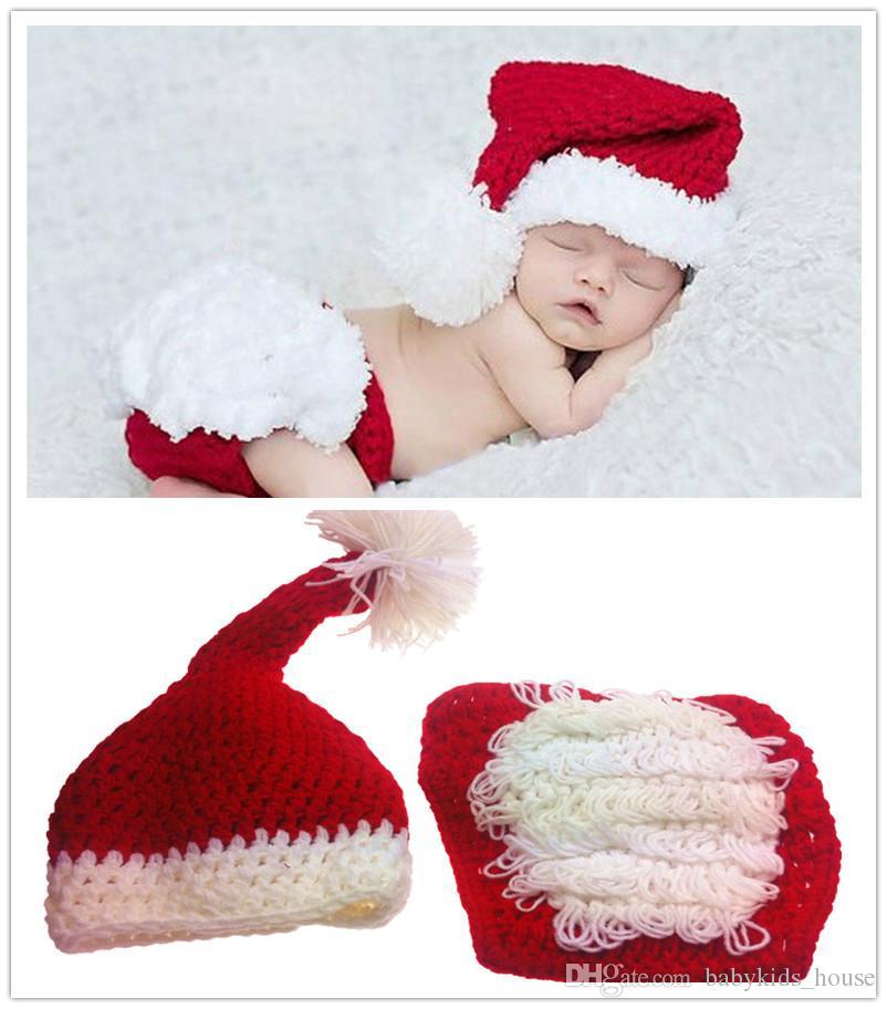 Fotografia do bebê Adereços de Natal Outfits Santa Terno de Cauda Longa Bebê Menino Menina Chapéu de Natal Crochet Adereços Foto Recém-nascidos