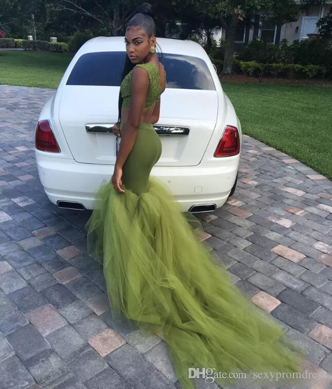 Трава зеленый две части Пром платья 2K17 Южно-Африканская высокая шея рукавов Русалка вечерние платья тюль развертки поезд Vetidos платье партии
