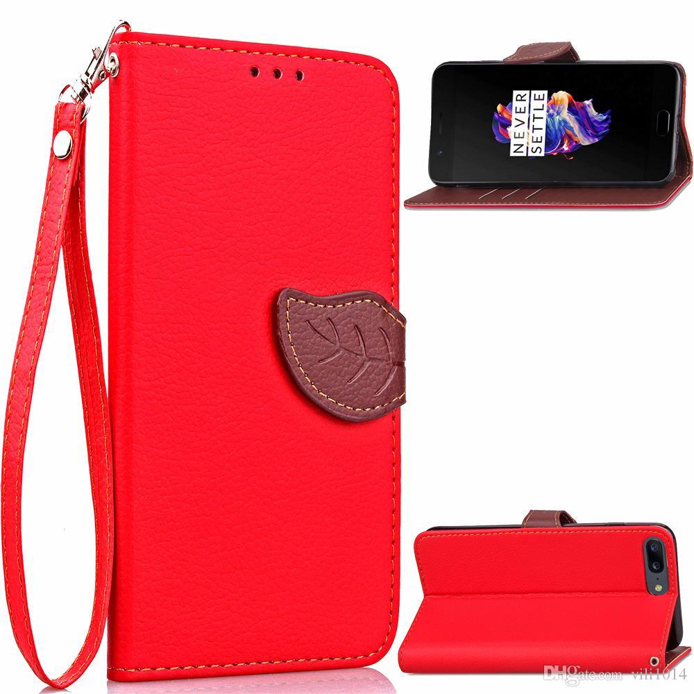 Lüks Yaprak Çevirme Deri Cüzdan Kart Case Yuvası Kapak Kayışı ile Oneplus 3 Oneplus 5 1 + 5 Hit Renk Telefon Kılıfı