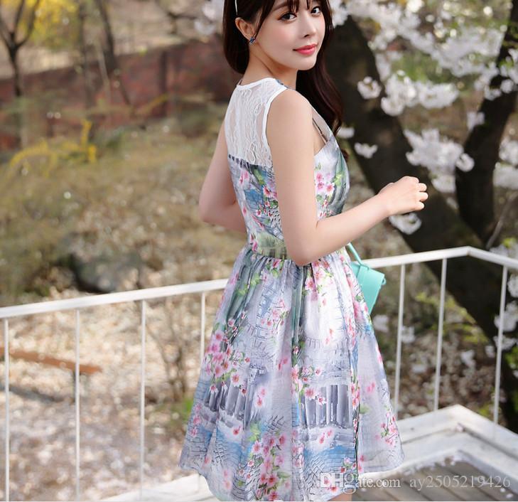 L'Europe et les États-Unis d'été nouvelle version coréenne de la douce impression Eugen fil robe sans manches dowisi / Duo Si Si