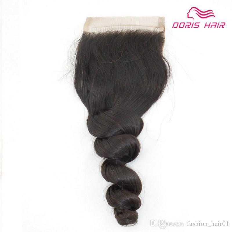 Beste Qualität LOSE WAVE Spitze Schließung mit 2 Stück Haar Schuss Webart Färbbare brasilianische indische Jungfrau Remy Menschenhaar Bundles Doris Haar