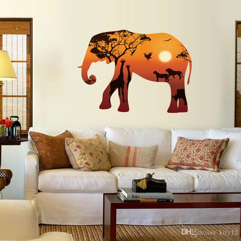 Acquista New Elephant Wall Sticker Camera Da Letto Soggiorno ...