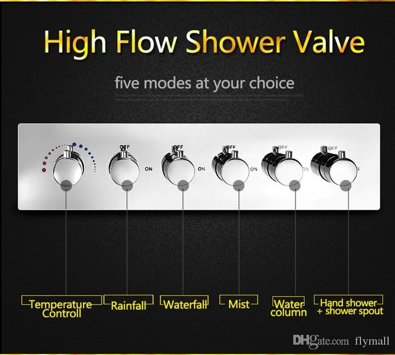 Modern LED Bathroom Shower Set Accessories Faucet Panel Tap Hot and cold water Mixer LED Light Ceiling Shower Head Rainfall Waterfall Shower