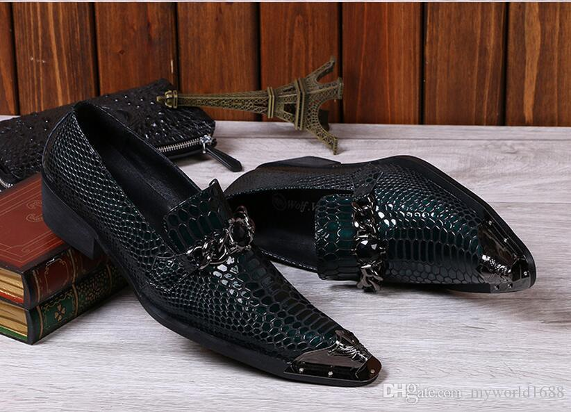 Men Snake Metallic Italian Shoes Men Leather Formal Slip-On Oxfords Shoes Skin Famous Business Italian Flat Party Shoes