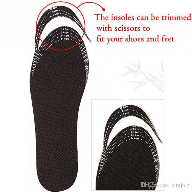 أسود قابل للتعديل الحجم النعال للجنسين الخيزران الفحم مزيل العرق وسادة القدم إدراج حركة عرق ماصة منصات الأحذية