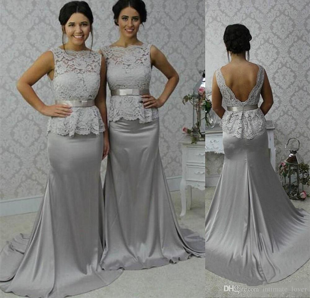 2016 bridesmaid dresses long sweep satin mermaid formal party 2016 bridesmaid dresses long sweep satin mermaid formal party gowns v backless lace top peplum wedding guest dress bridesmaid dresses for teenagers cheap ombrellifo Gallery
