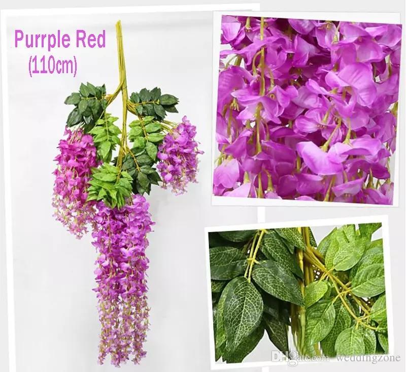 110 cm Wisteria Düğün Dekor için 6 renkler Yapay Dekoratif Çiçekler Garlands Parti Düğün Ev Ücretsiz Nakliye Için