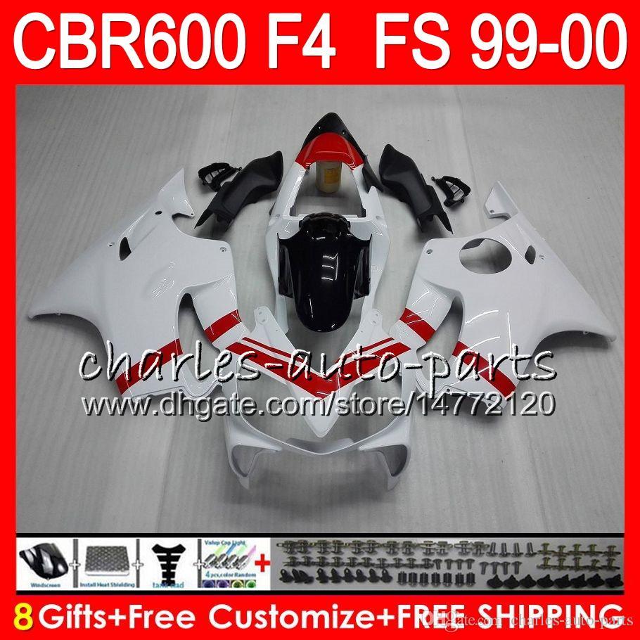 8Gifts Bodywork for 혼다 CBR 600 F4 99-00 CBR600FS FS 30HM23 광택 화이트 CBR600 F4 1999 2000 CBR 600F4 CBR600F4 99 00 페어링 키트