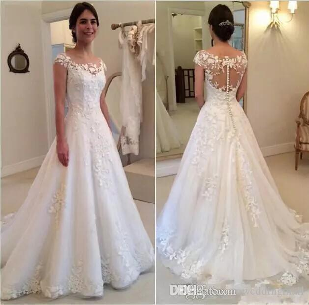 Discount A Line Lace Appliques Covered Button Sweep Train Elegant