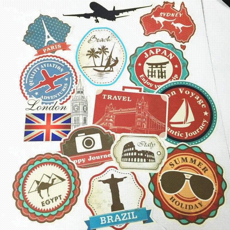 wholesale waterproof removable car sticker world traveller vintage
