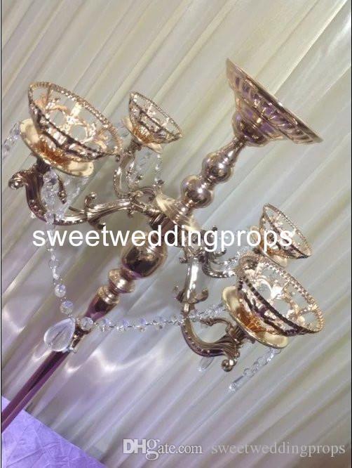 centrotavola candelabro in cristallo acrilico all'ingrosso alto da tavolo