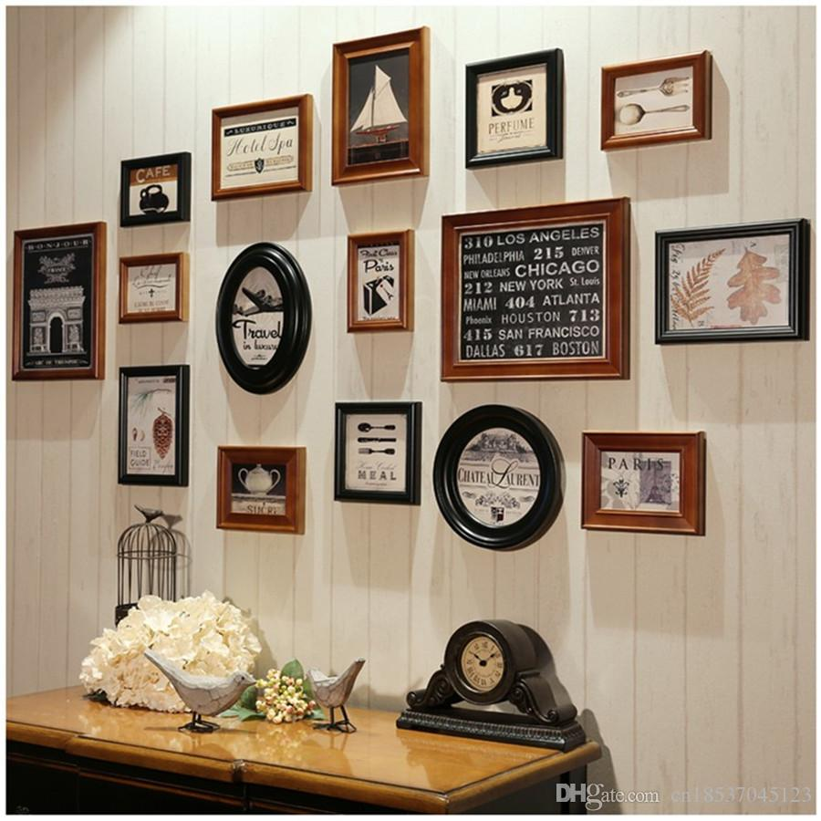 2018 American Classic Round Picture Frames Fashion Square Wall Brown ...