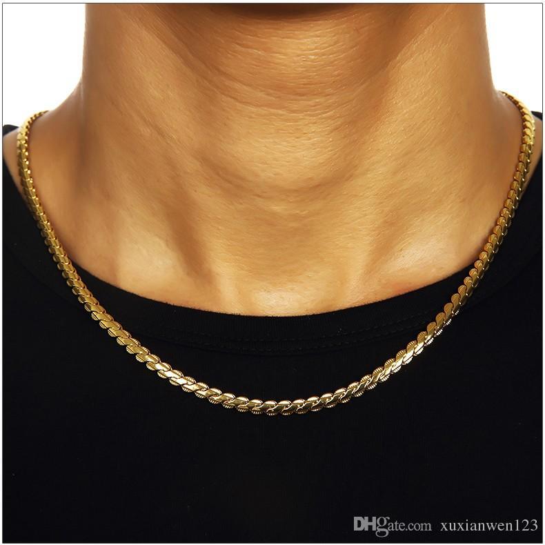 Hip Hop cuivre Singel chaînes avec de plaqué or dentelle chaîne hommes bijoux pour hommes Bijouterie / Femmes Emballage