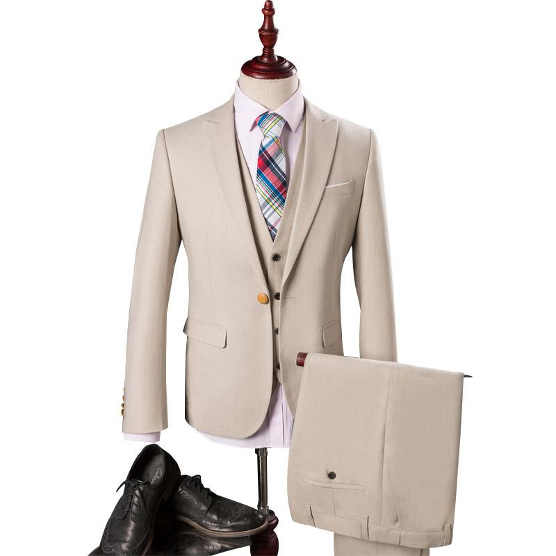 Wholesale- Men Suits For Wedding 2016 Luxury Brand Beige Tuxedos For ...
