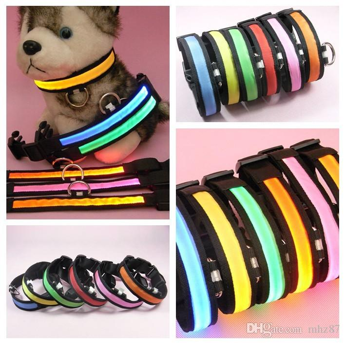 2.5cm Width Nylon LED Pet Dog Cat Collar Small Medium Large Dogs Safety Night Light Pets Flash Neck Collars