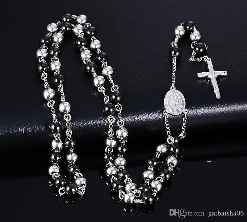 Мода Blacksilver Цвет Ожерелье из нержавеющей стали Длинные Ожерелье Ювелирные Изделия