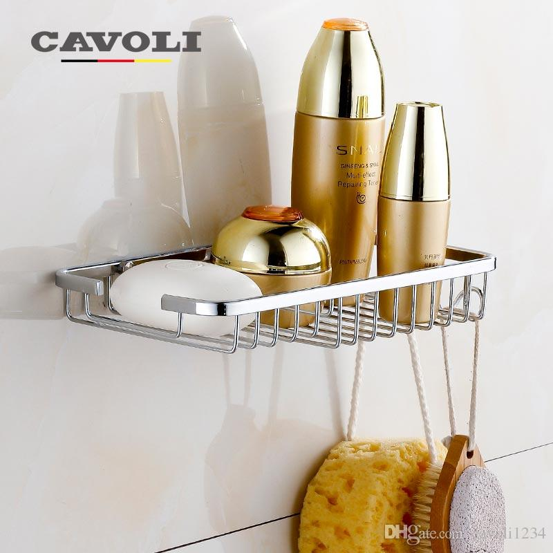 toothbrush holder bathroom racks wall mounted stainless steel hanging basket single layer net bath shelves brand accessories cavoli bk111 stainless steel