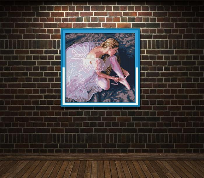 Ballerina ragazza danza di bellezza, stile Grazioso Punto croce Set cucito Kit di ricamo dipinti contati stampati su tela DMC 14CT / 11CT