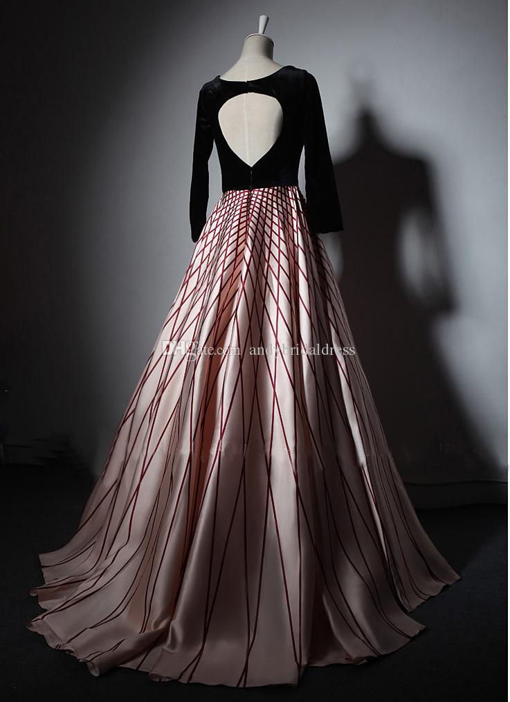 2019 Autumn New Real Sample V-neck Floor Length Arabic Evening Dresses Long Sleeves Keyhole Back Women Custom Made Prom Dress Gown