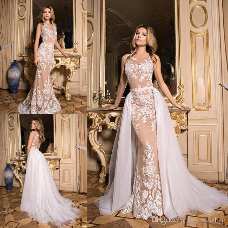 New Design Overskirts Wedding Dresses Detachable Train Illusion Back ...