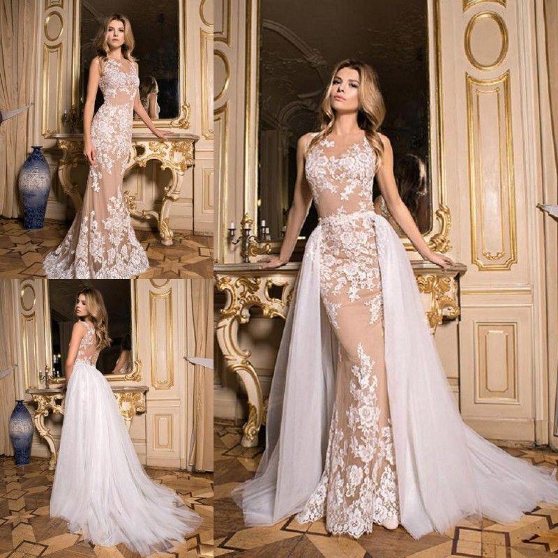 Novo Design Overskirts Vestidos de Casamento Destacável Trem Ilusão de  Volta Com Apliques de Jardim Vestido De Noiva Sereia Sexy Vestido Para  Casamentos f07f629a0278